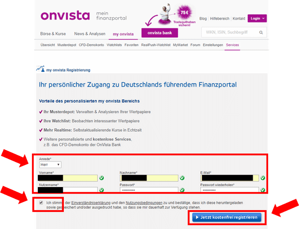 OnVista Musterdepot Account