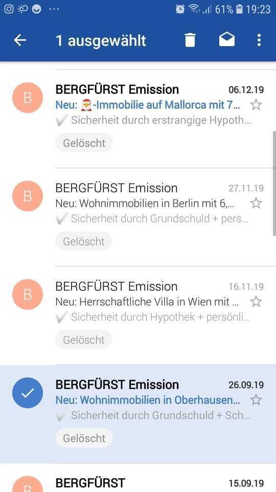 Berfürst - neue Anlöagemöglichkeiten per E-Mail