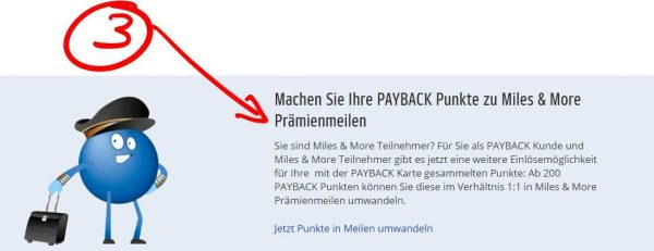 payback in Prämienmilen umwandeln